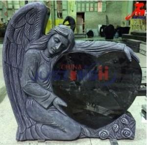 Black granite heart shaped and hand carved angel gravestone