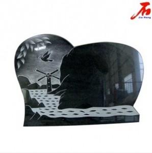 laser carving natrual scenery black granite memorial plaque