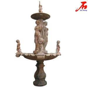 Red Color Fountain with Figure Sculpture
