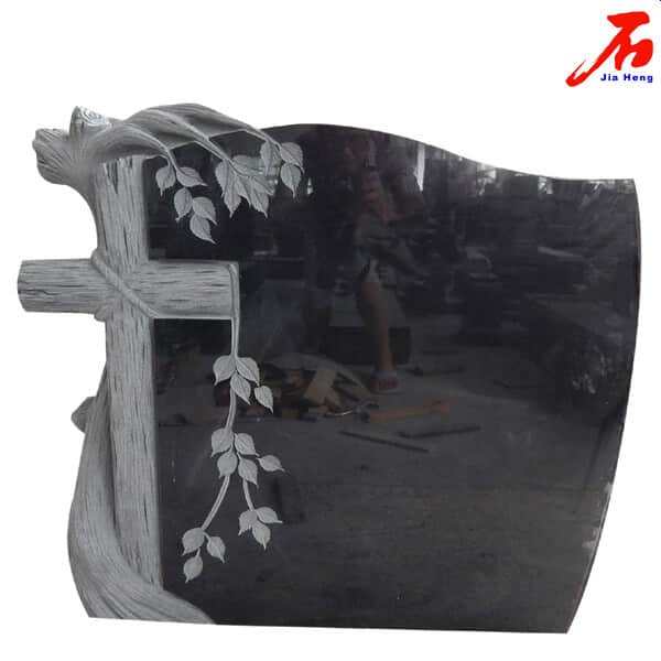 Shanxi Black Granite Headstones With Hand Carved Cross And