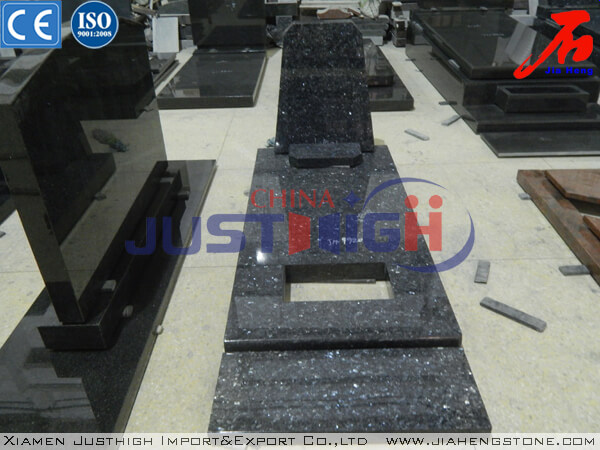 Leading Blue Pearl Granite Headstone With Coverplate In Good