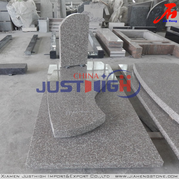 Polished Chinese rose granite G635 memorials in European Franch style